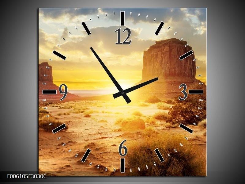 Wandklok op Canvas Zonsondergang | Kleur: Bruin, Geel | F006105C