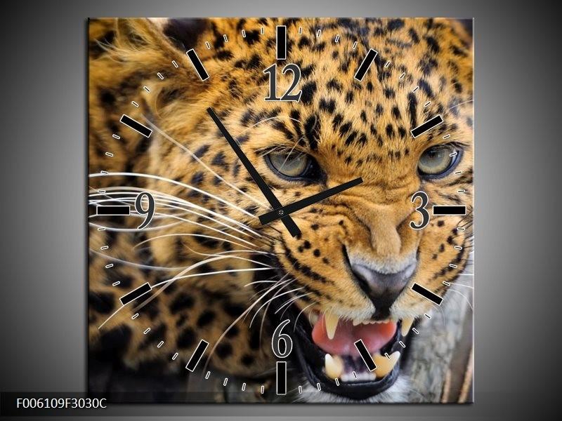 Wandklok op Canvas Luipaard   Kleur: Bruin, Zwart   F006109C