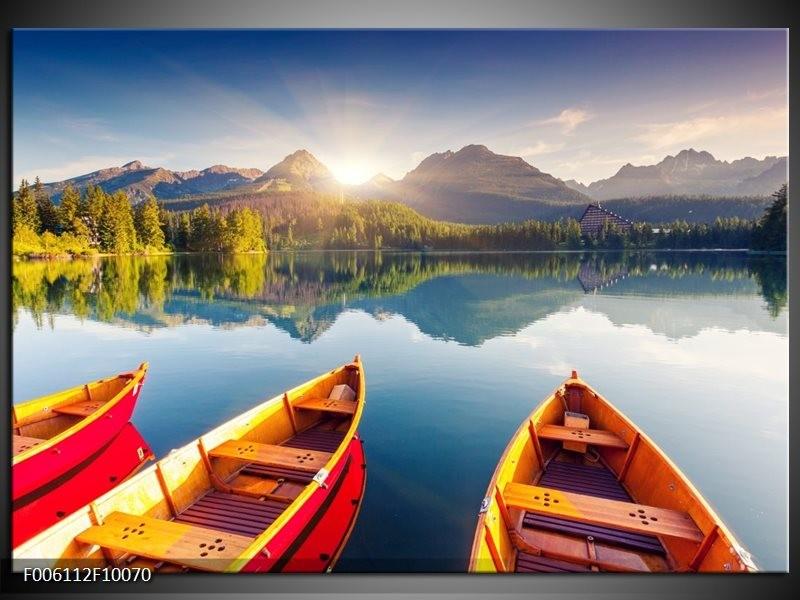 Glas schilderij Boot | Oranje, Rood, Blauw