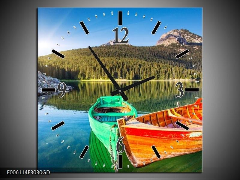 Wandklok op Glas Bergen | Kleur: Oranje, Groen | F006114CGD