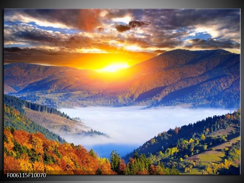 Glas schilderij Zonsondergang | Oranje, Blauw, Bruin