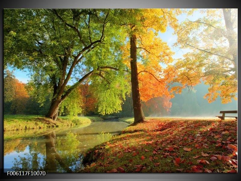 Foto canvas schilderij Herfst | Oranje, Bruin, Groen