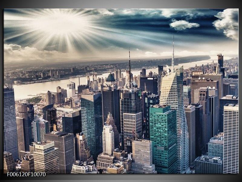 Glas schilderij Wolkenkrabber | Grijs, Groen