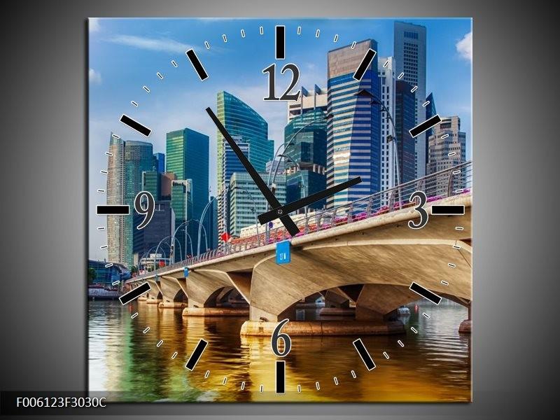 Wandklok op Canvas Singapore | Kleur: Blauw, Groen, Bruin | F006123C