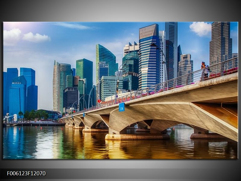 Canvas schilderij Singapore | Blauw, Groen, Bruin | 120x70cm 1Luik