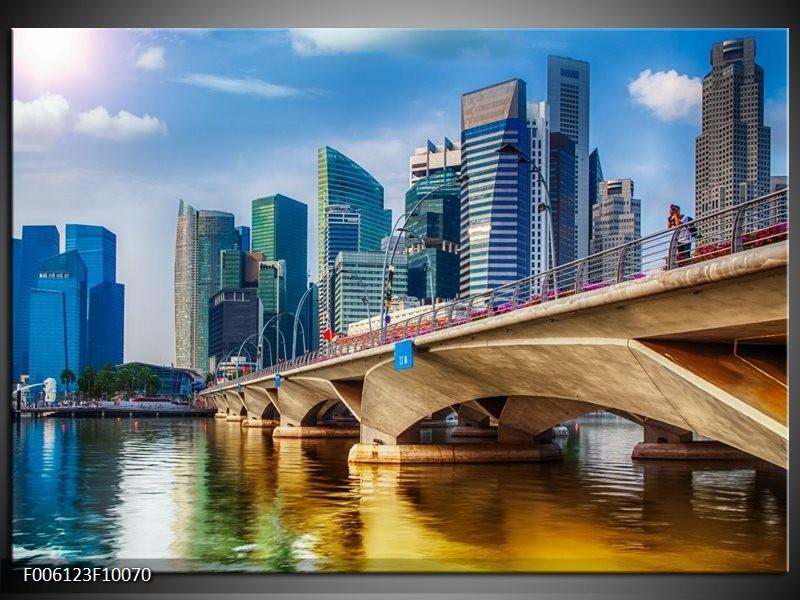 Glas schilderij Singapore | Blauw, Groen, Bruin