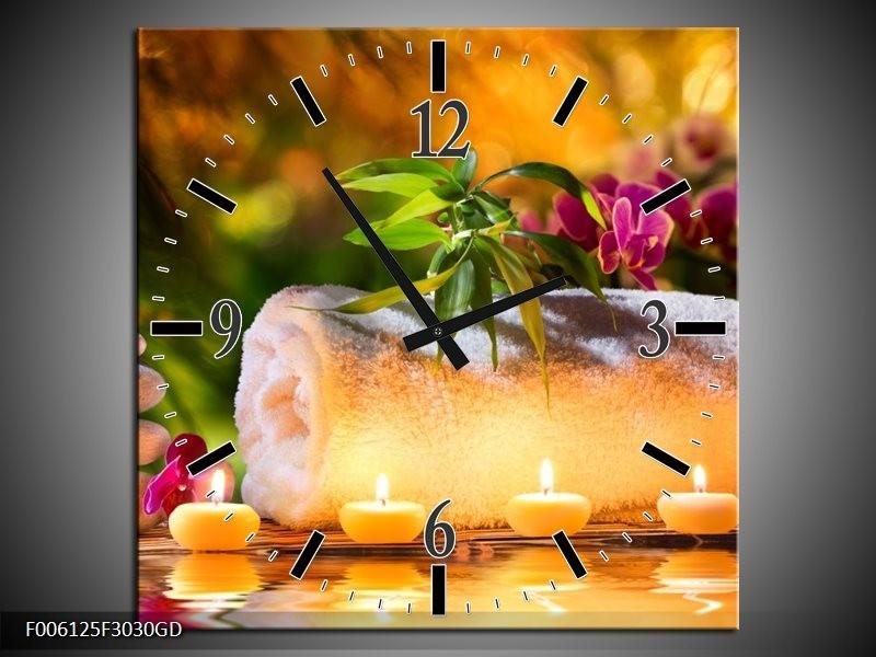 Wandklok op Glas Spa | Kleur: Geel, Bruin, Paars | F006125CGD
