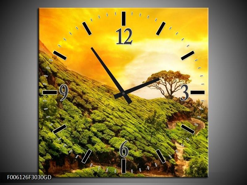 Wandklok op Glas Natuur | Kleur: Groen, Oranje, Geel | F006126CGD