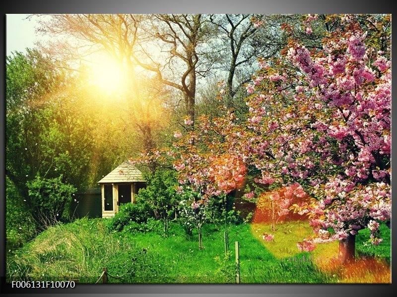 Foto canvas schilderij natuur groen paars for Schilderij natuur