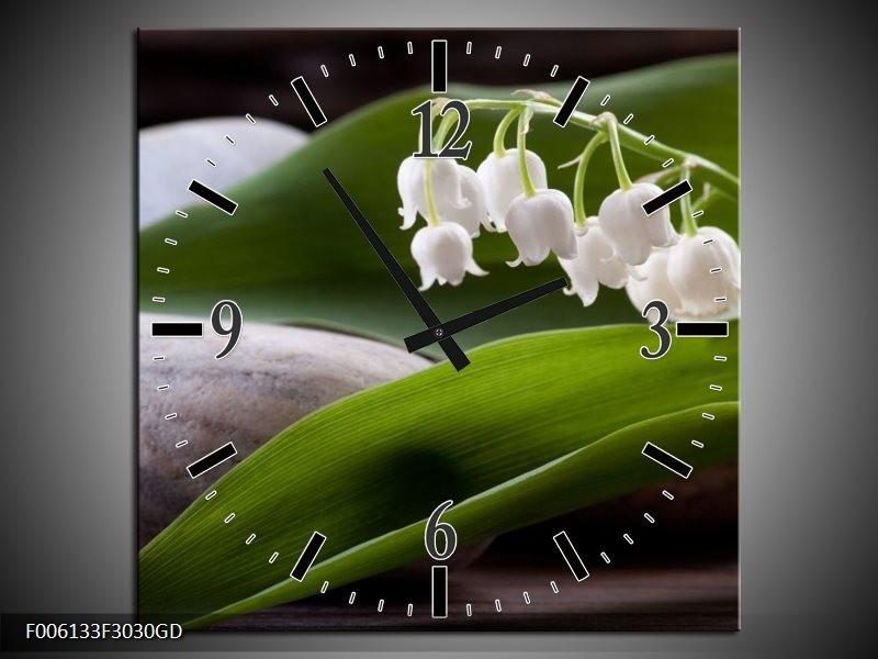 Wandklok op Glas Bloemen | Kleur: Groen, Wit, Grijs | F006133CGD
