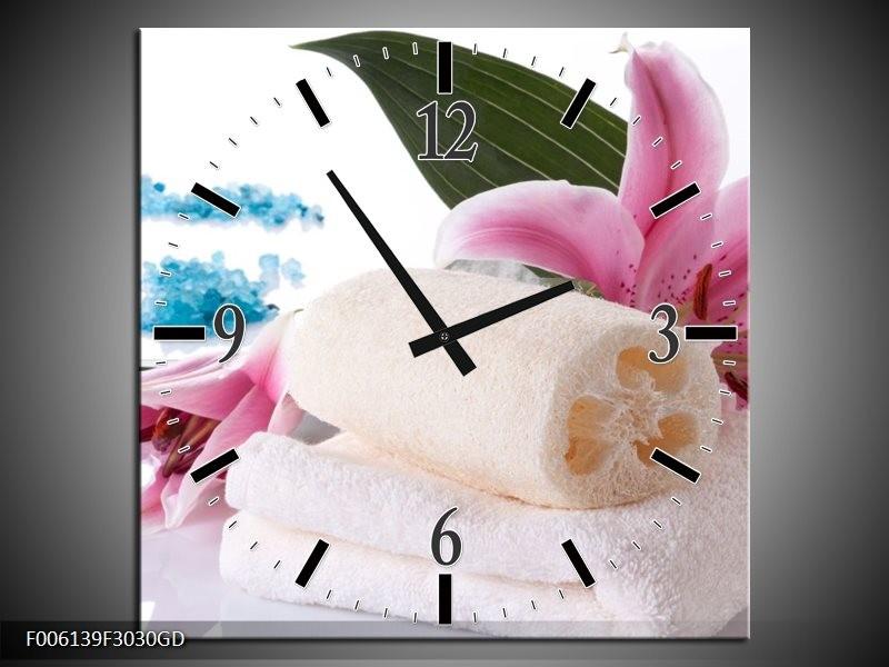 Wandklok op Glas Spa | Kleur: Roze, Wit, Blauw | F006139CGD