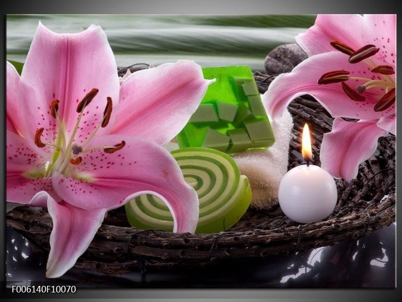 Glas schilderij Spa | Roze, Groen