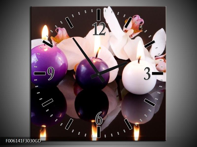 Wandklok op Glas Spa | Kleur: Paars, Wit, Zwart | F006141CGD
