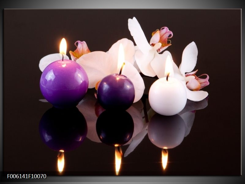 Glas schilderij Spa | Paars, Wit, Zwart