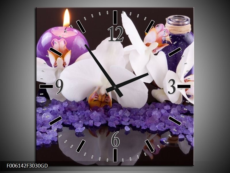 Wandklok op Glas Spa   Kleur: Paars, Wit, Zwart   F006142CGD