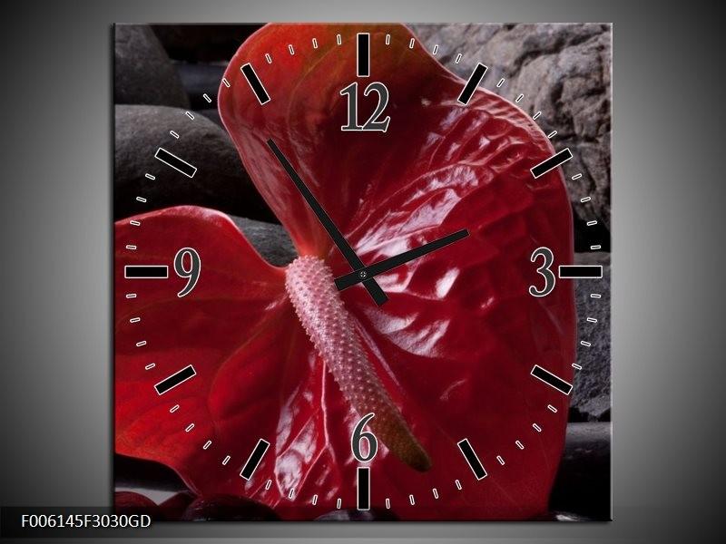 Wandklok op Glas Spa | Kleur: Rood, Grijs, Zwart | F006145CGD