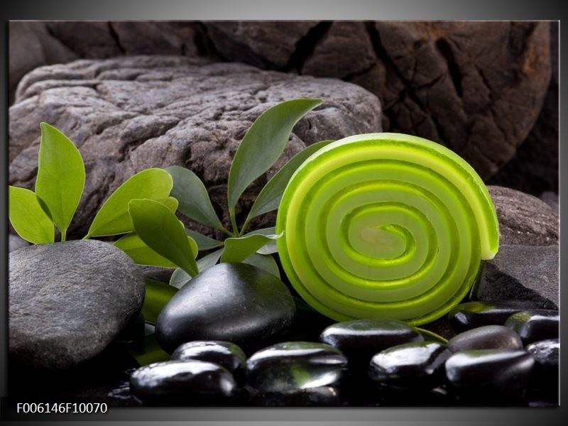 Glas schilderij Spa | Groen, Zwart
