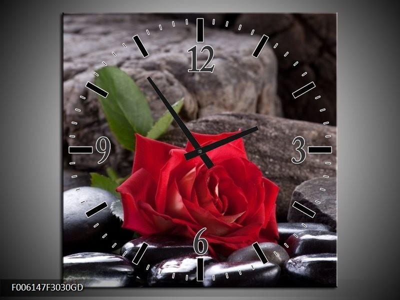 Wandklok op Glas Roos | Kleur: Rood, Zwart | F006147CGD
