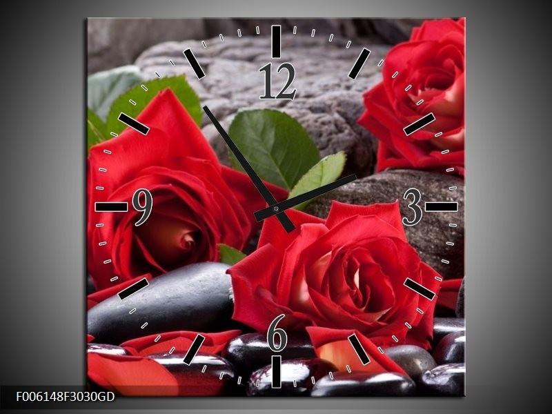Wandklok op Glas Roos | Kleur: Rood, Zwart, Groen | F006148CGD