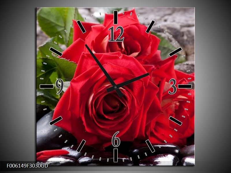 Wandklok op Glas Roos | Kleur: Rood, Zwart, Groen | F006149CGD