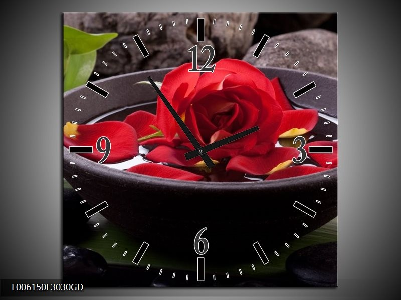 Wandklok op Glas Roos | Kleur: Rood, Zwart, Groen | F006150CGD