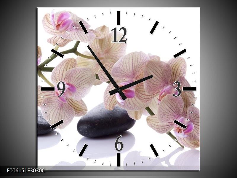 Wandklok op Canvas Orchidee | Kleur: Wit, Zwart, Roze | F006151C
