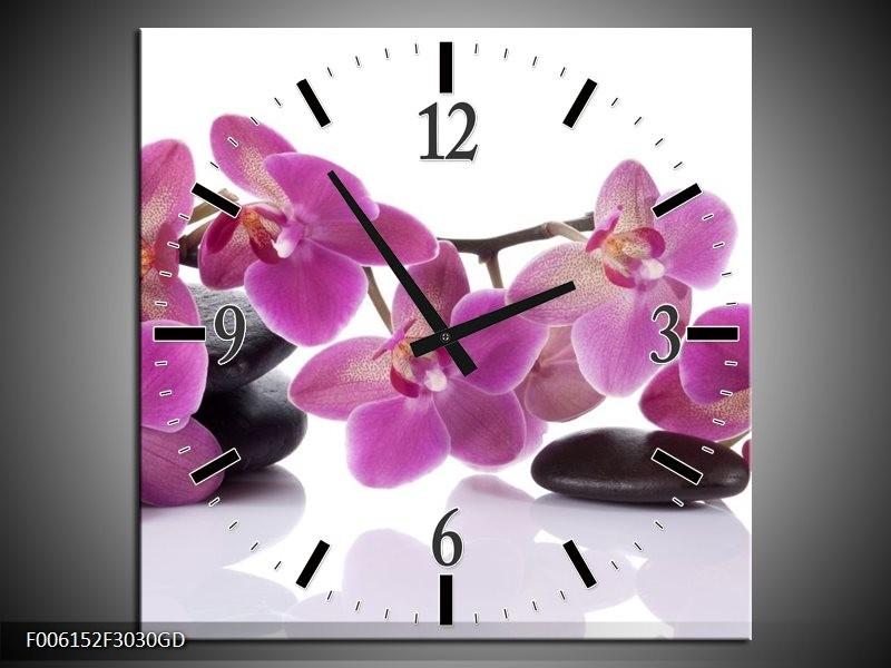 Wandklok op Glas Orchidee | Kleur: Paars, Wit | F006152CGD