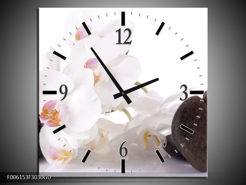 Wandklok op Glas Orchidee | Kleur: Wit, Zwart | F006153CGD