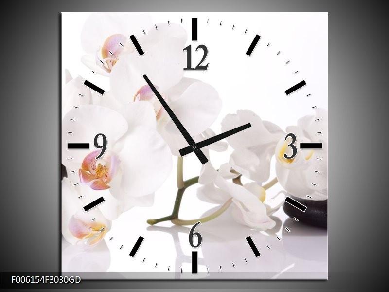 Wandklok op Glas Orchidee   Kleur: Wit, Zwart   F006154CGD