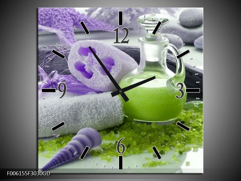Wandklok op Glas Spa | Kleur: Paars, Groen, Grijs | F006155CGD