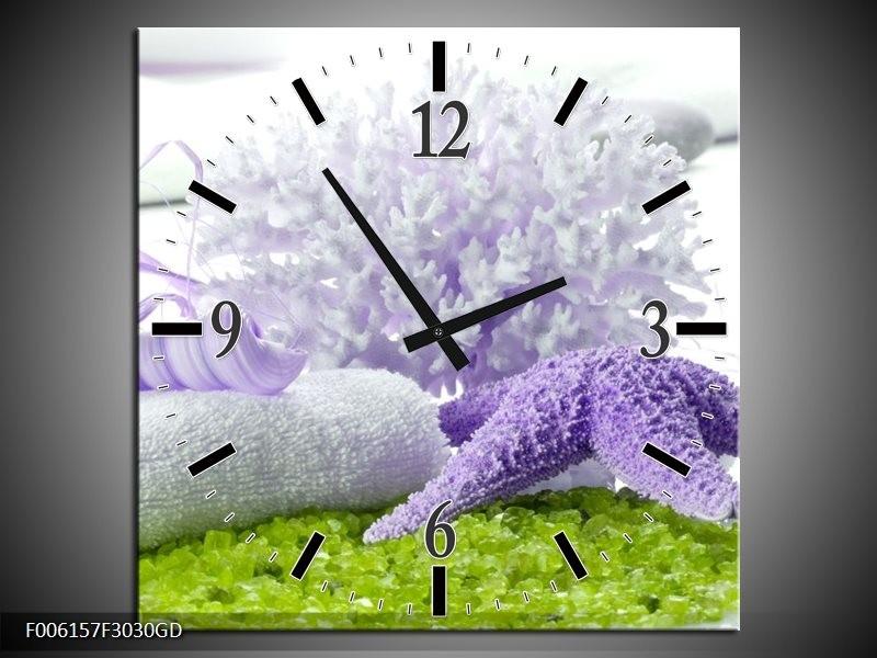 Wandklok op Glas Spa | Kleur: Paars, Groen, Wit | F006157CGD