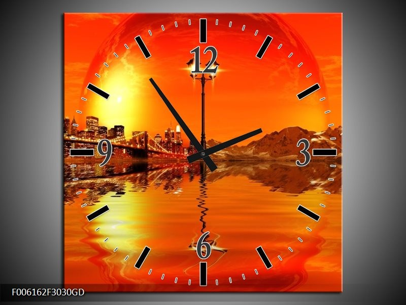 Wandklok op Glas Steden | Kleur: Oranje, Rood, Geel | F006162CGD