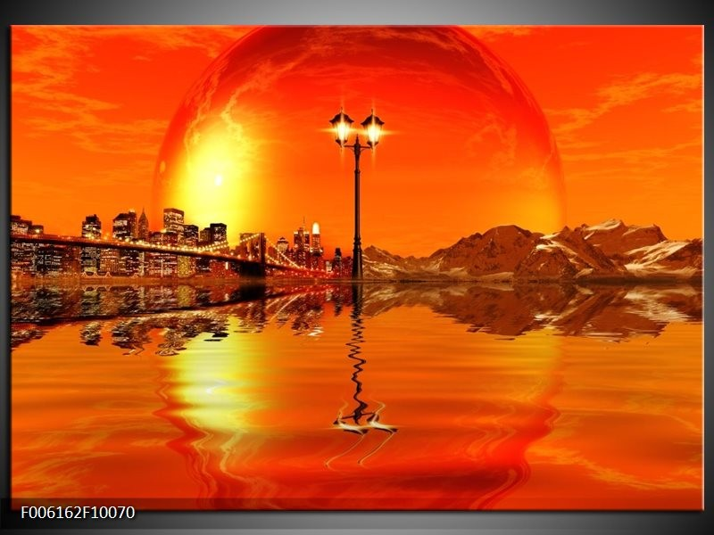 Glas schilderij Steden   Oranje, Rood, Geel