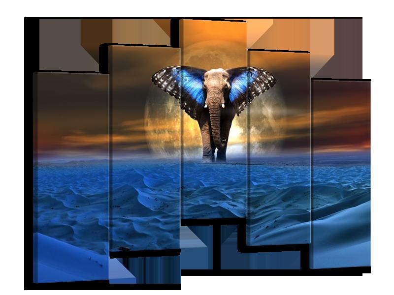 Glas schilderij Olifant | Blauw, Bruin | 125x90cm 5Luik