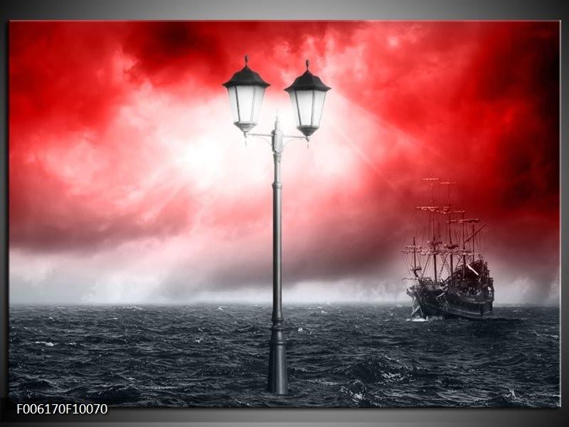 Glas schilderij Zee | Rood, Grijs, Zwart
