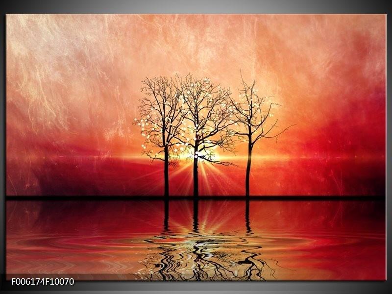 Glas schilderij Abstract | Rood, Geel