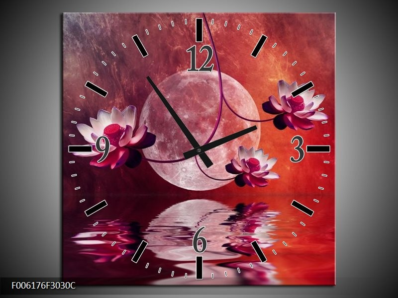 Wandklok op Canvas Modern | Kleur: Rood, Paars, Roze | F006176C