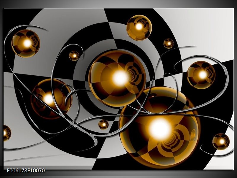 Glas schilderij Modern | Goud, Zwart, Grijs