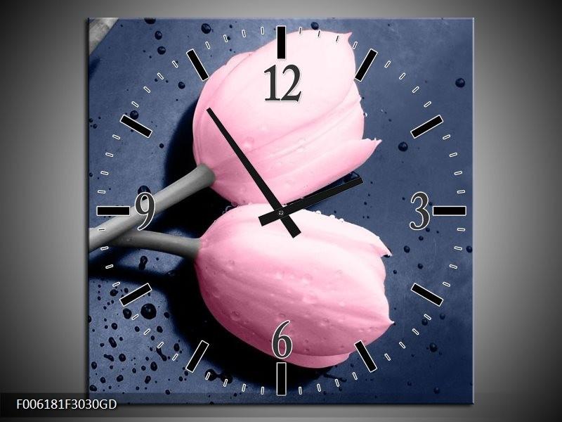 Wandklok op Glas Tulpen   Kleur: Roze, Grijs   F006181CGD