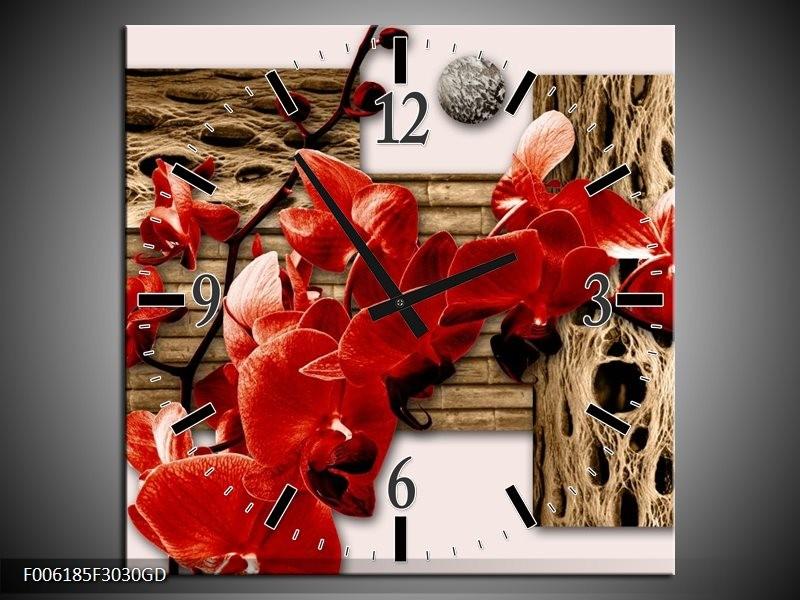 Wandklok op Glas Orchidee | Kleur: Rood, Bruin, Creme | F006185CGD