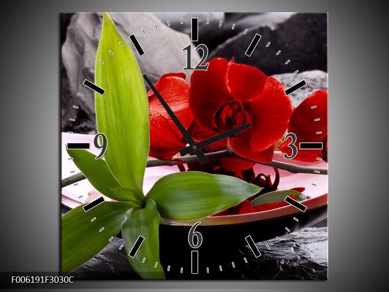 Wandklok op Canvas Orchidee | Kleur: Rood, Groen, Grijs | F006191C