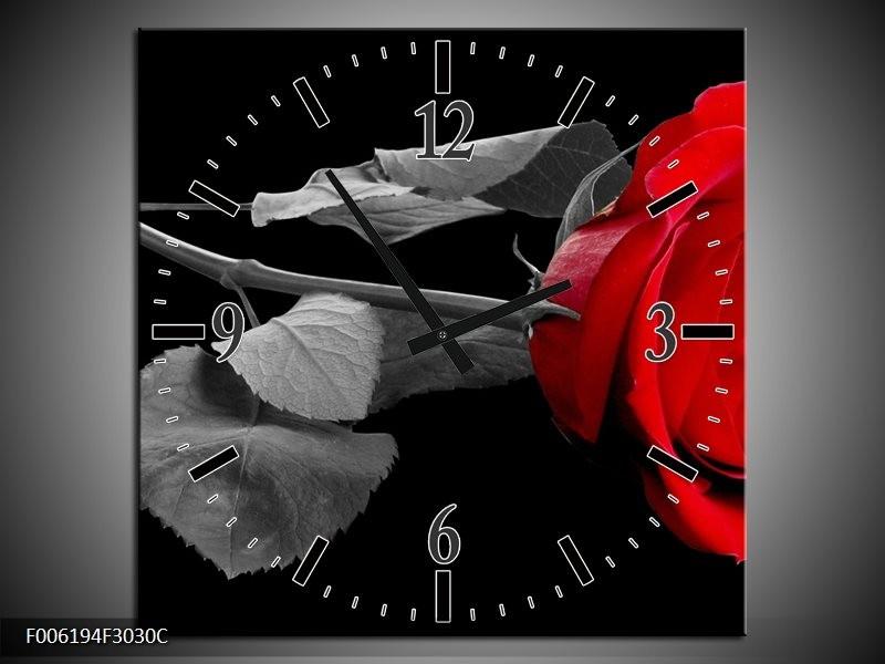 Wandklok op Canvas Roos | Kleur: Rood, Zwart | F006194C