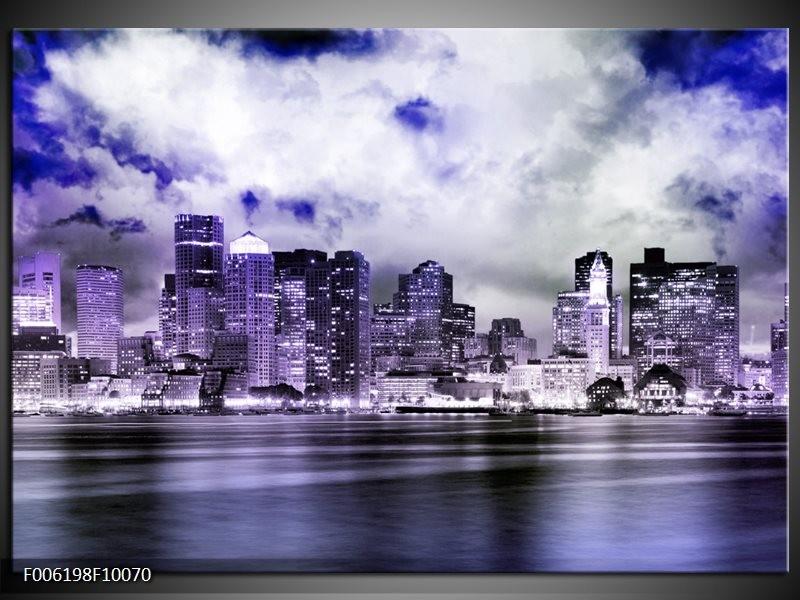 Glas schilderij Wolkenkrabber   Paars, Grijs, Blauw
