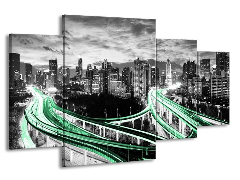 Canvas schilderij Wolkenkrabber | Groen, Grijs | 160x90cm 4Luik