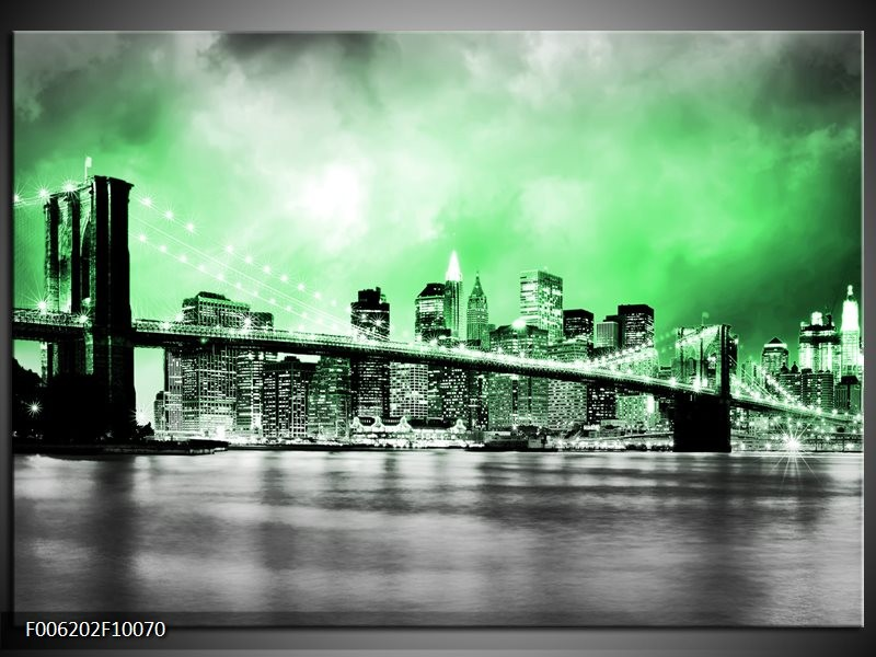Glas schilderij Brug | Grijs, Groen