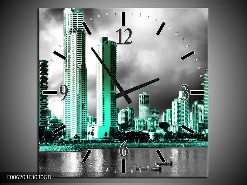 Wandklok op Glas Wolkenkrabber | Kleur: Grijs, Groen | F006203CGD