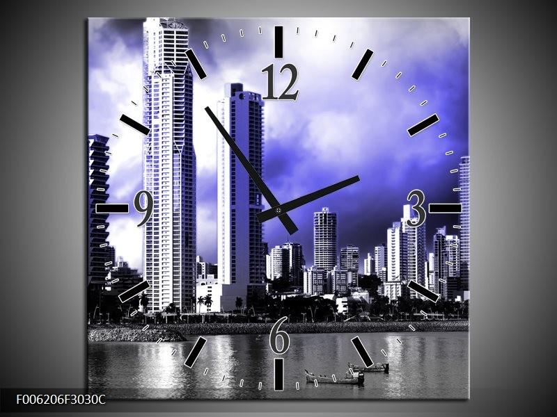 Wandklok op Canvas Wolkenkrabber | Kleur: Blauw, Grijs | F006206C