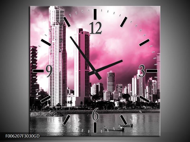 Wandklok op Glas Wolkenkrabber | Kleur: Roze, Grijs | F006207CGD