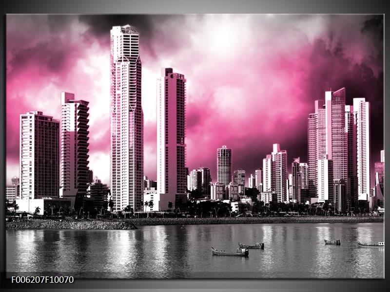 Glas schilderij Wolkenkrabber   Roze, Grijs
