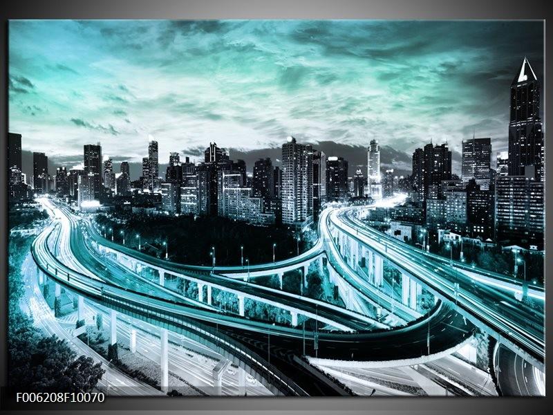 Glas schilderij Wolkenkrabber | Blauw, Groen, Grijs